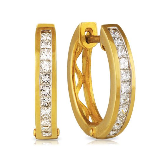 9ct Yellow GoldPrincess  Diamond earrings