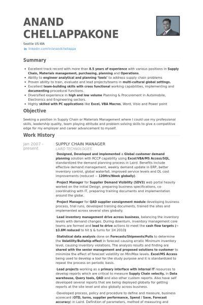 senior logistic management resume Senior Manager Supply Chain - supply manager resume