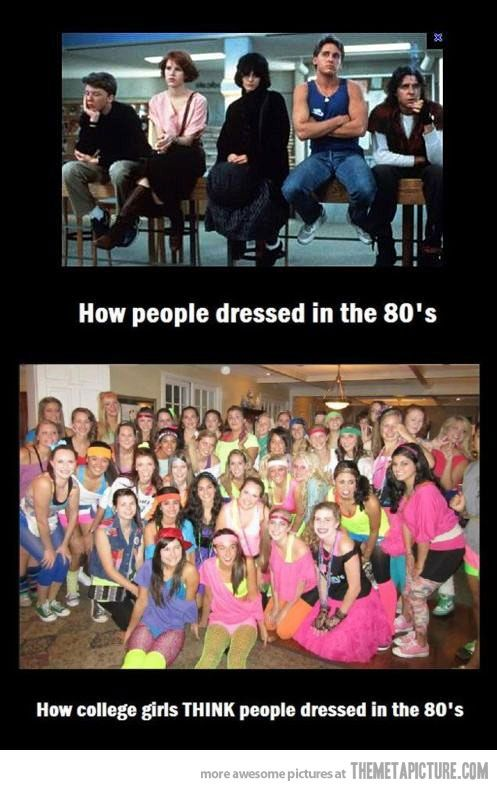 """Yes! This always drives me crazy. 80s doesn't just mean Olivia Newton John in the """"Physical"""" video."""