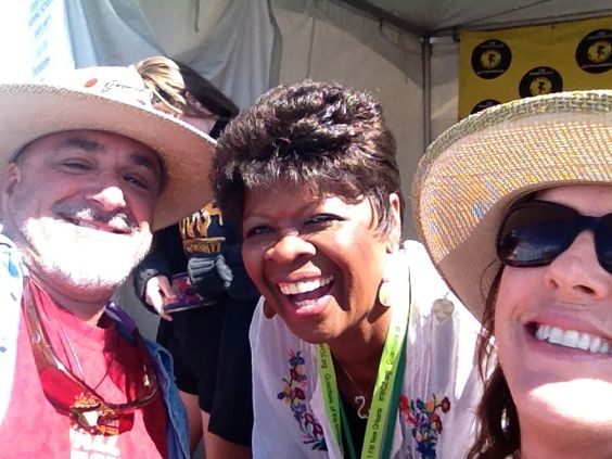 Me & Ginny with Irma Thomas at JazzFest.  Her tribute to Mahalia Jackson in the Gospel Tent brought us to tears...