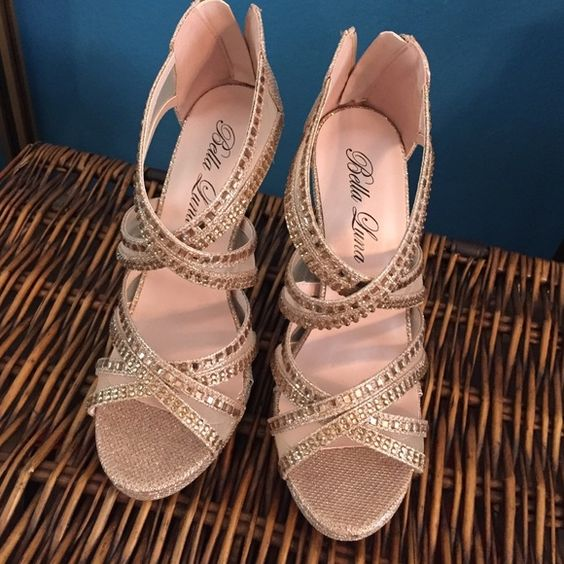 Beautiful champagne or gold rhinestone heels! These heels were never worn brand new! Gold, champagne colors with lots of sparkle! Shoes Heels