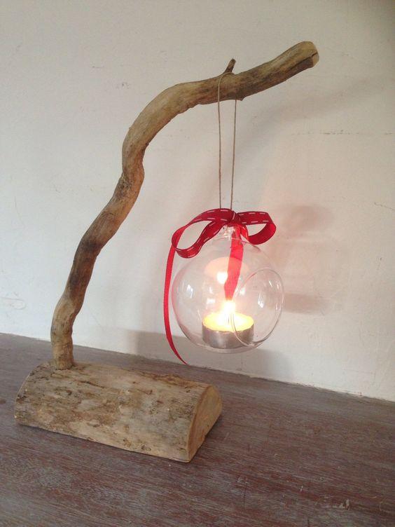 photophore bulle boule de no l sur branche de bois flott et sa b che. Black Bedroom Furniture Sets. Home Design Ideas