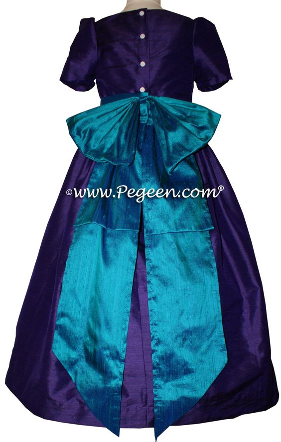 Peacock (teal) and purple flower girl dresses by Pegeen