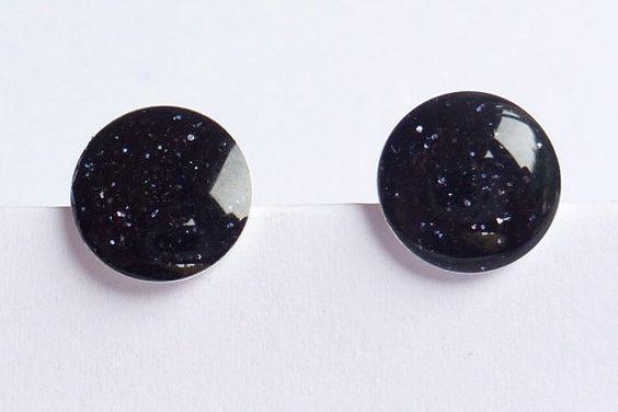 Black sparkle glitter stud earrings. $12.00, via Etsy.