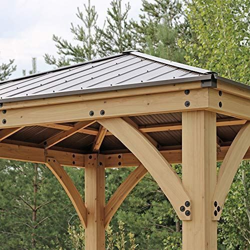 Yardistry 10 X 10 Wood Gazebo With Aluminum Roof Backyard Pavilion Wooden Gazebo Backyard Gazebo