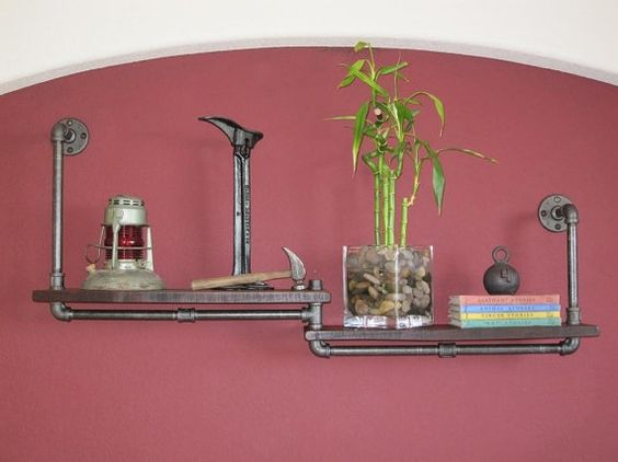 how cool is this plumbing pipe shelf?
