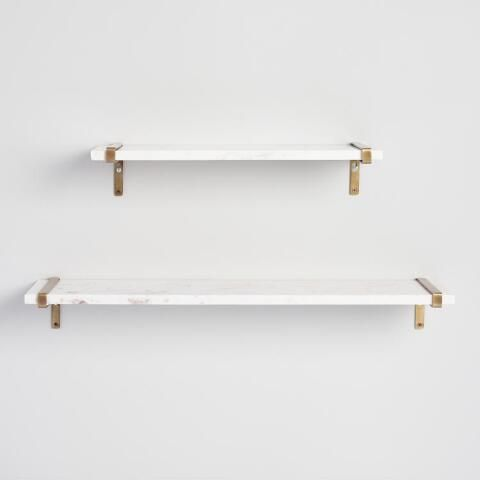 Marble Mix Match Wall Shelf Collection Glass Wall Shelves Glass Shelves Gold Shelves
