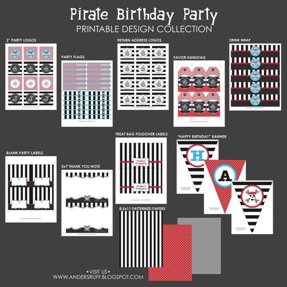 Pirate Birthday Party Printables Collection-$43