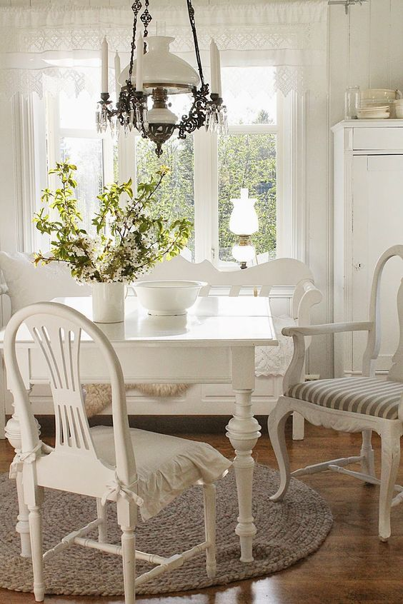 Wonderful White Kitchen Table Nook ... FROM: VIBEKE DESIGN: The BEAUTY of spring!