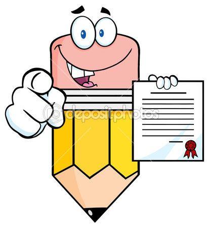 Personaje de dibujos animados de lápiz señalando con el dedo y sosteniendo un contrato