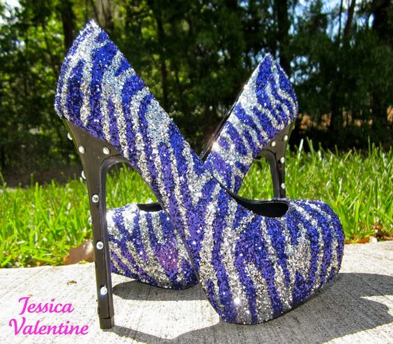purple and silver heels