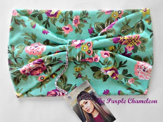 Mint Green and Peach Chartreuse and Violet Purple Floral Turban Head Wrap WRAPsody  Knit Headwrap