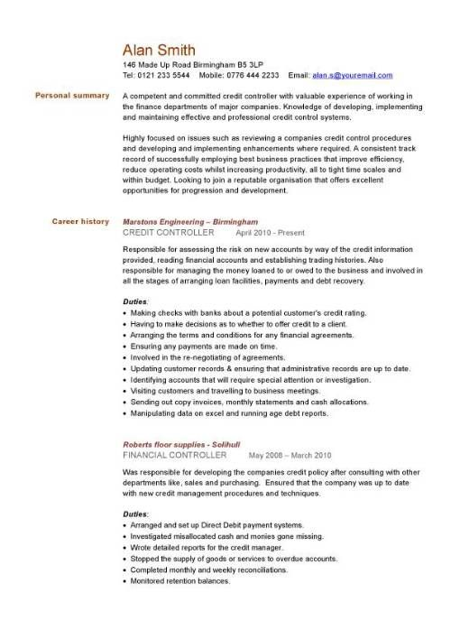 Financial Cv Template Business Administration Cv Templates