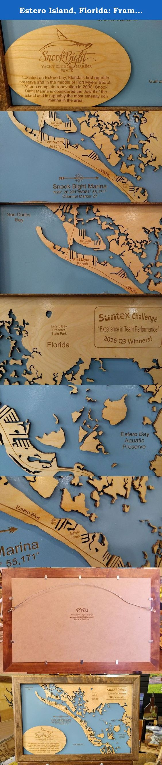Estero Island Florida Framed Wood Map Wall Hanging This Is A - Florida map jigsaw puzzle