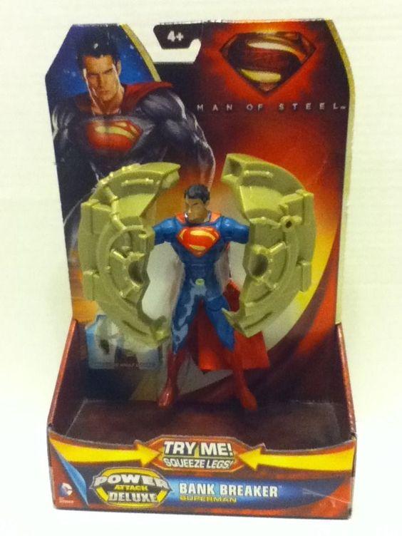Superman Action Hero Bank breaker Power attack Deluxe Man Steel Mattel 6 in boys #Mattel