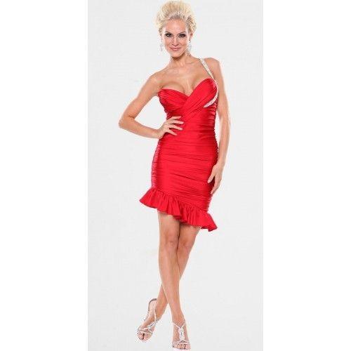Tafetán Arruga Corto Cuello Asimétrico|Solo Hombro Vestidos de Coctel $99.99 Vestidos De Coctel