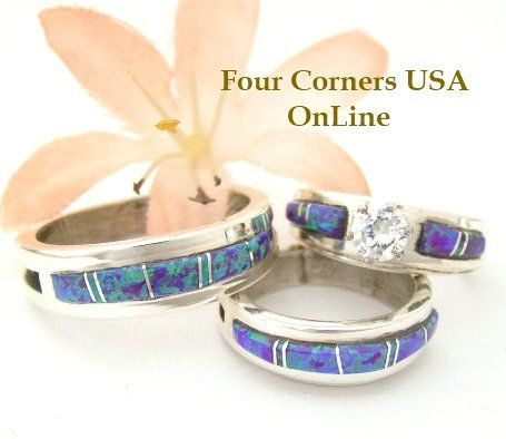 Native American Engagement Wedding Ring Sets Purple Fire Opal