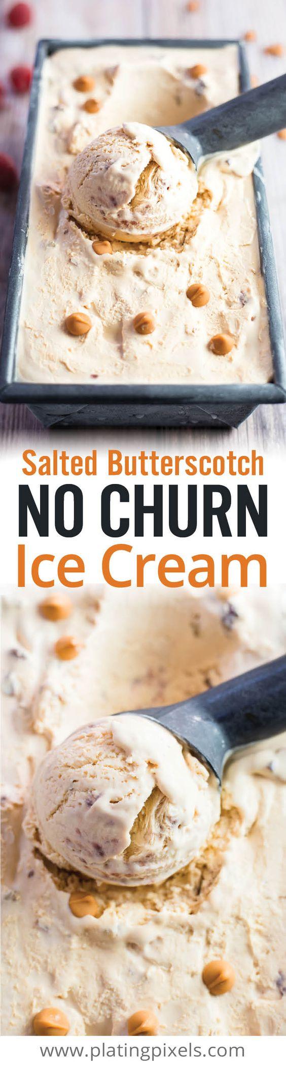 Hassle free Butterscotch No Churn Ice Cream. You don't even need an ice cream maker! Butterscotch chips, raspberry preserves, pecans, egg yolk, whole mil and whipped cream make creamy, dreamy ice cream. Vegetarian and gluten free recipe. #sp www.platingpixels.com