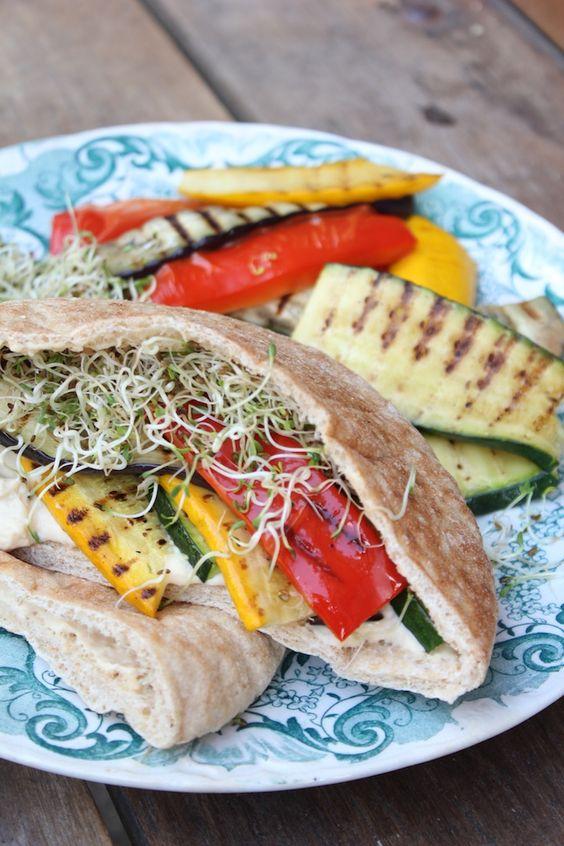 Vegetarian grilled vegetable & hummus pitas recipe with alfalfa sprouts