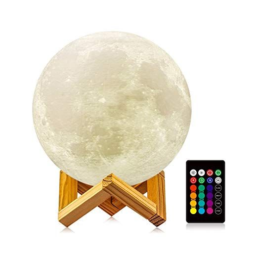 Logrotate Moon Lamp With Stand Diameter 4 7 Inch 16 Colors 3d Print Moon Light With Remote Touch Moon Light Lamp Decorative Night Lights Wedding With Kids