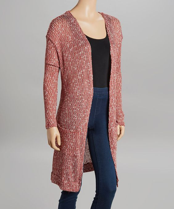 Look at this Burgundy & White Geo Knit Duster on #zulily today!