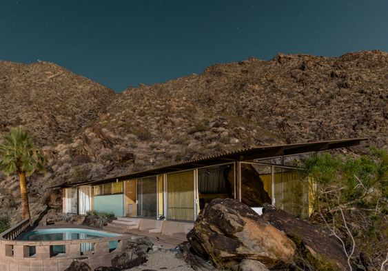 Midnight Modern, Tom Blachford, Mid Century houses homes, Palm Springs, bathed in moonlight - Pinned by 360 Modern Furniture