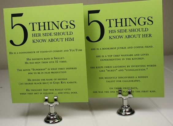 5 Things about Him/Her - cute for Rehearsal Dinner tables