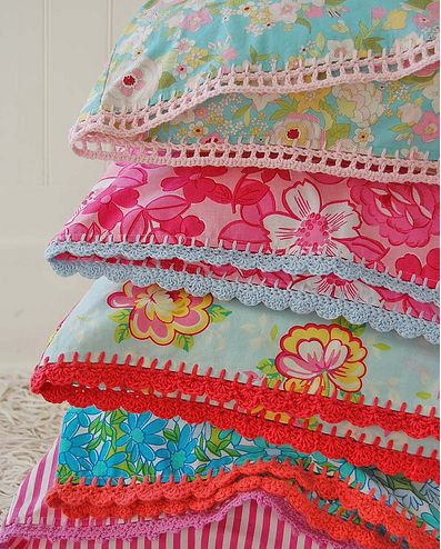crocheted lace on pillow cases