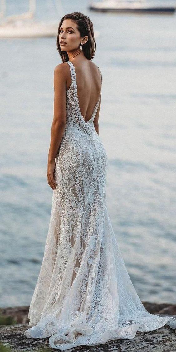 low back wedding dresses sheath beach floral lace allure bridals #beachweddingdress