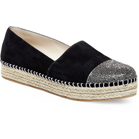 Steve Madden Pulsse Espadrille Flats ($89) ❤ liked on Polyvore featuring shoes, flats, black, black platform shoes, black shoes, black flats, platform shoes and round toe flats