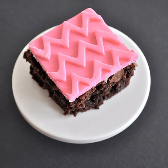 pink chevron fondant brownie toppers