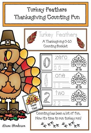 """Counting & number activities: Excellent, Thanksgiving-themed """"Turkey Feathers"""" counting booklet, with other worksheets, games & fun."""