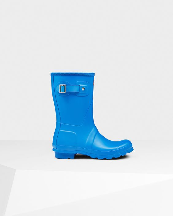 Womens Blue Short Rain Boots | Official US Hunter Boots Store ...
