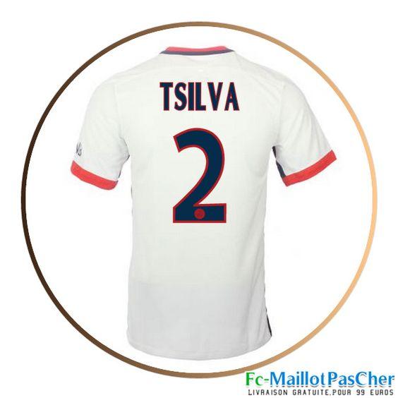 Maillot du Paris PSG blanc T SILVA 2 Exterieur 15 2016 2017