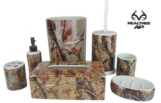 Realtree camo bath accessories camo home decor for Camo bathroom ideas