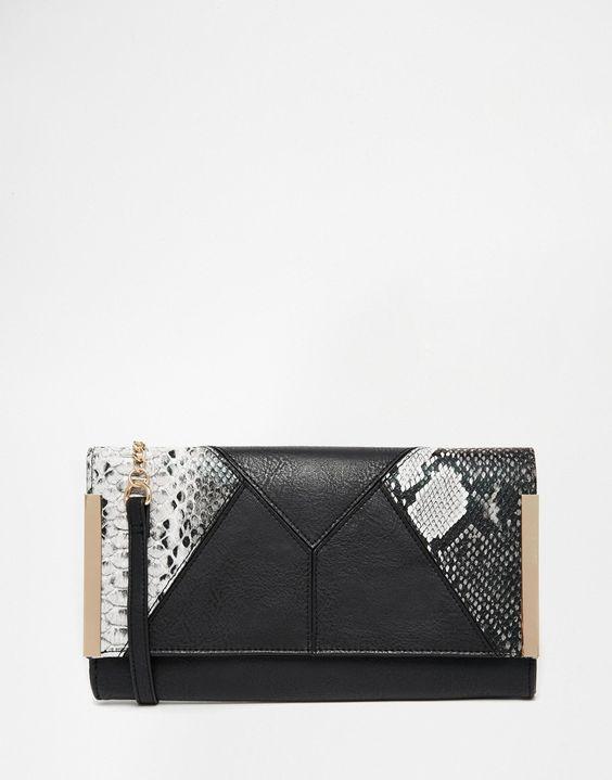 Image 1 ofASOS Panel Snake Clutch Bag With Metal Bars