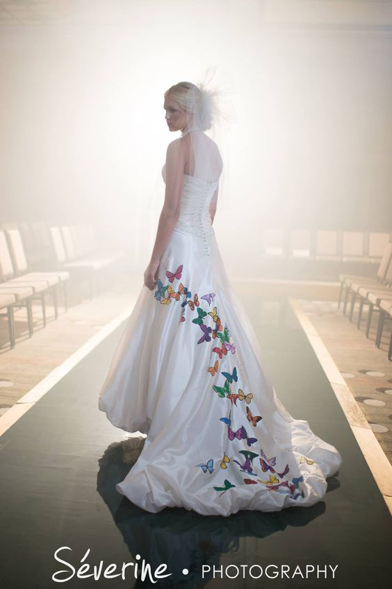 Butterfly wedding dress custom hand painted wedding for Painted on wedding dress
