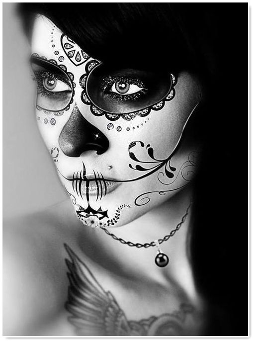 make up day of the dead diy et id es halloween maquillage pinterest inspiration. Black Bedroom Furniture Sets. Home Design Ideas