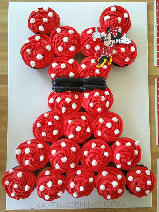 Minnie mouse pull apart cupcake cake stick it minnie for Minnie mouse cake template free