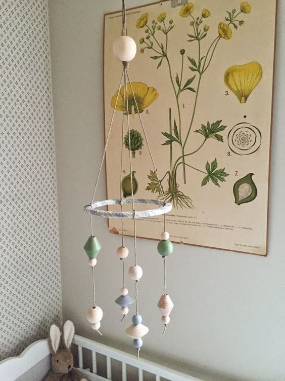 DIY/Home made crib mobile of wooden beads from the craft store. Min lantliga dröm: