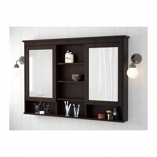 Hemnes Mirror Cabinet With 2 Doors, Black Mirrored Bathroom Cabinet
