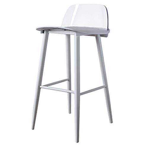 White Counter Stool High Chair Bar Stool Dining Chair For Kitchen Pub Home Lounge Chairs Plastic Steel Floor Seat Simple Mod Cafe Seating High Stool Bar Stools