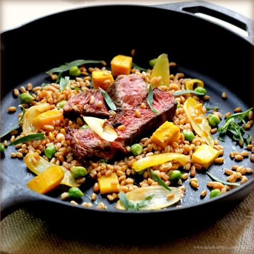 Steak and Farro with Chickpeas and Beets