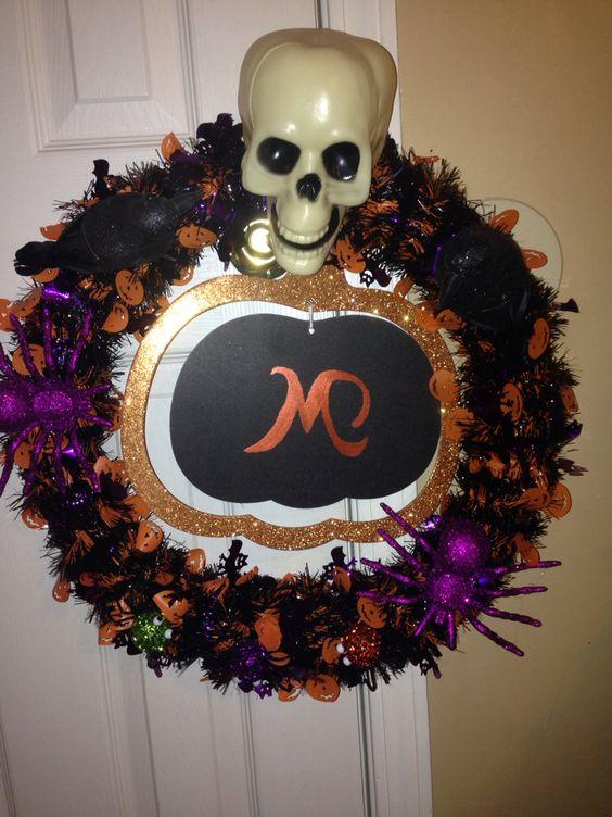Halloween wreath made mostly from what I found at the Dollar Tree