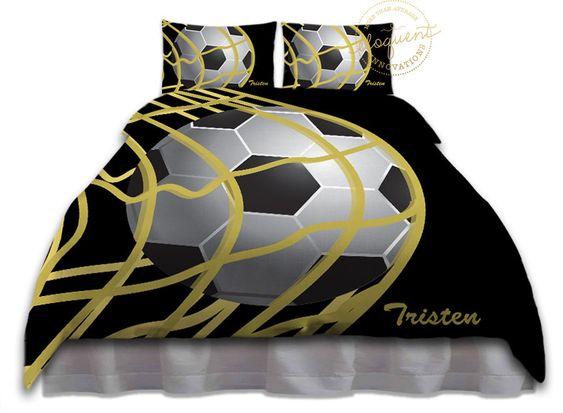 Soccer Ball Bedding   Duvet Cover Girls Or Boys, Black U0026 Gold   Soccer  Bedding