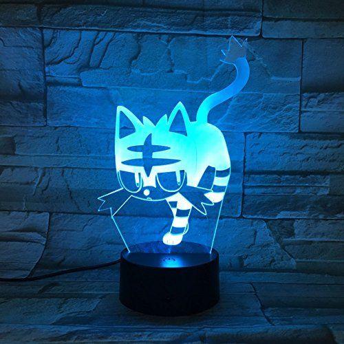 3d Katze Optische Illusions Lampen Tolle 7 Farbwechsel Acryl Beruhren Tabelle Schreibtisch Nachtlicht Mit Usb Kabel Fu Katzen Spielzeug Nachtlicht Farbwechsel