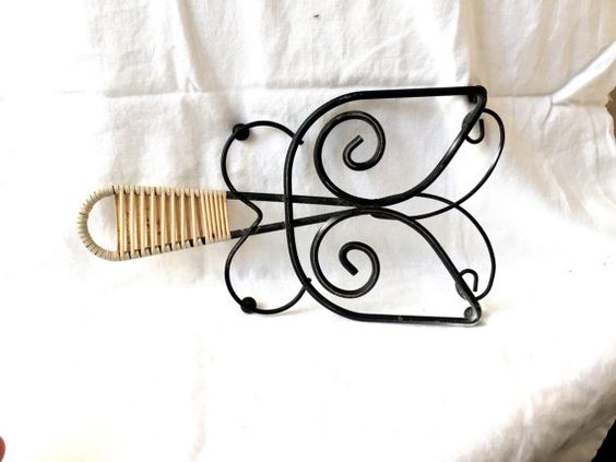 Vintage BLACK Butterfly Trivet Wonderful vintage Trivet woven handle retro kitchen