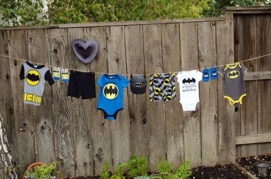 batman baby shower ideas, clothesline decor
