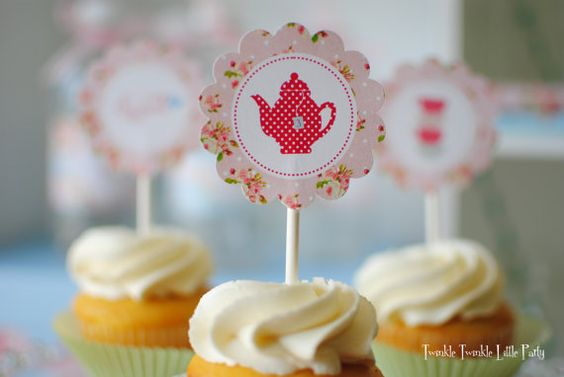 Pink Floral Shabby Chic Printable Cupcake by twinklelittleparty