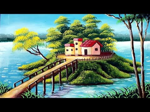 A House In A Lake Beautiful Nature Scenery Painting For Beginners Youtube En 2020 Pinturas Tecnicas De Pintura